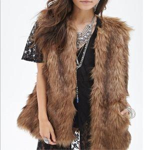 Forever 21 Faux Fur Longline Lined Vest Excellent
